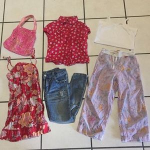 Other - Girls 6 Pieces! Dress, Purse, 2 Pants, 2 Shirts